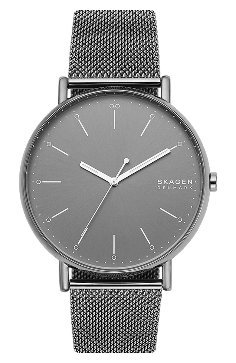 SKAGEN Signatur Mesh Strap Watch, 45mm, Main, color, GUNMETAL/ GREY