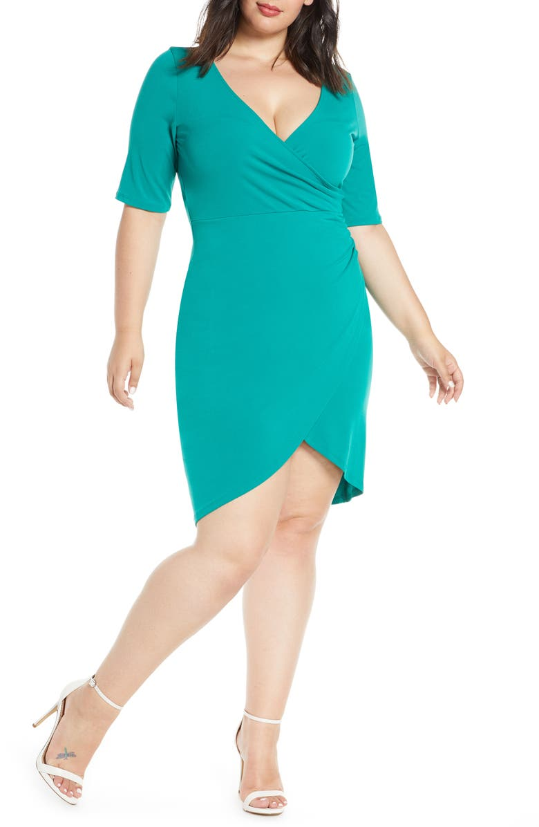 LEITH Ruched Wrap Body-Con Dress, Main, color, GREEN CADMIUM