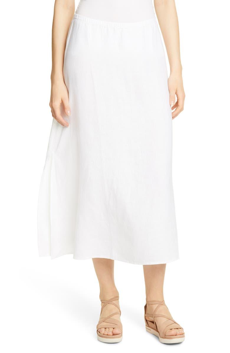EILEEN FISHER Side Slit Organic Linen Skirt, Main, color, WHITE