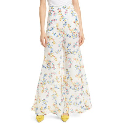 All Things Mochi Coco Floral Print Silk Crepe Flare Pants, White