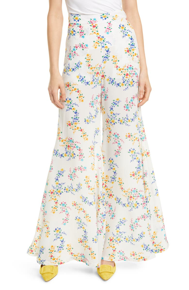 ALL THINGS MOCHI Coco Floral Print Silk Crepe Flare Pants, Main, color, 100