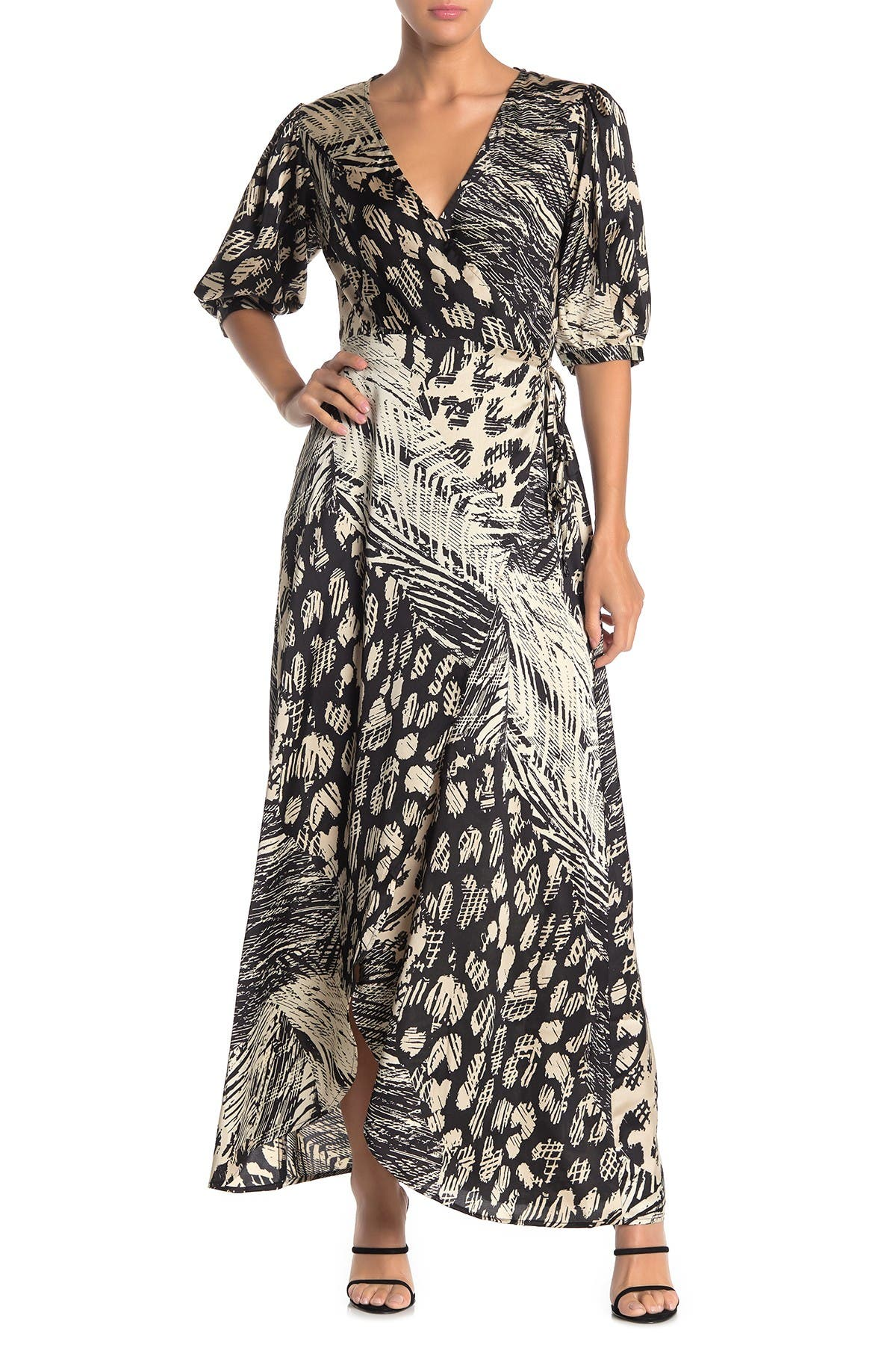 Image of Love Stitch Patchwork Print Maxi Wrap Dress