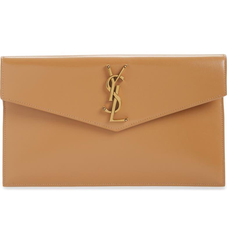 SAINT LAURENT Medium Niki Calfskin Leather Envelope Clutch, Main, color, 200