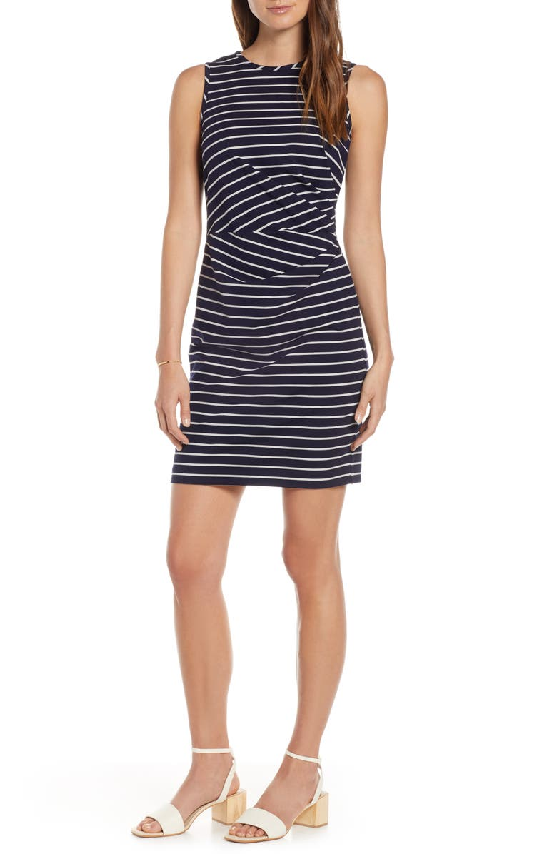 1901 Ruched Stripe Sheath Dress, Main, color, 401