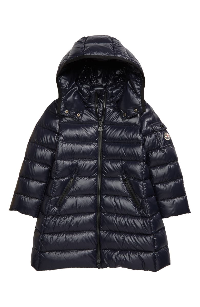 MONCLER Moka Water Resistant Down Hooded Jacket, Main, color, NAVY