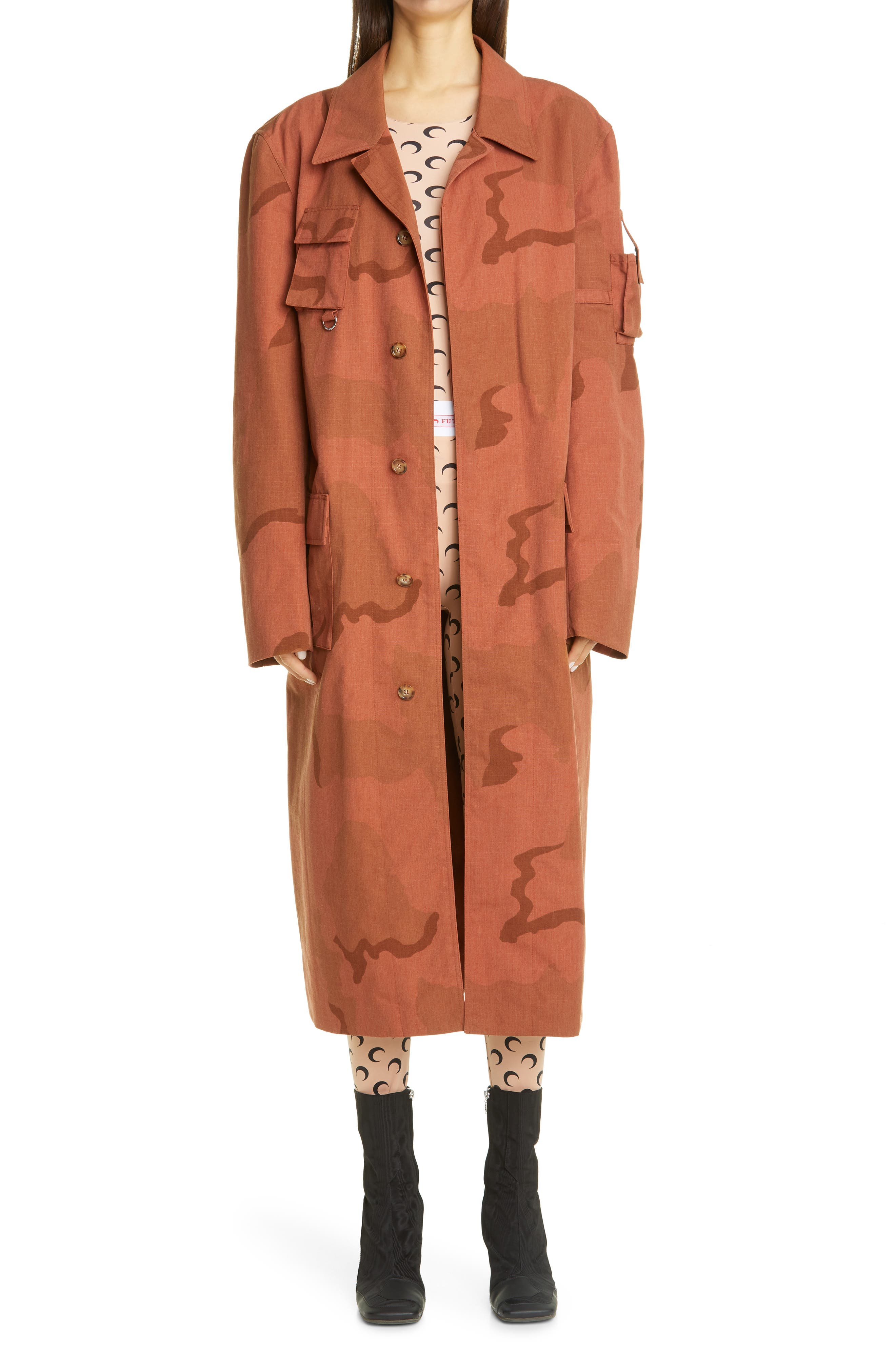 Marine Serre combats fashion-industry waste with this runway-featured coat made from upcycled cotton ripstop patterned in terra cotta camouflage. Style Name: Marine Serre Regenerated Military Coat. Style Number: 6071927. Available in stores.