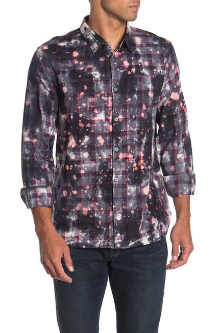 Image of John Varvatos Star USA Bleach Splatter Plaid Trim Fit Shirt
