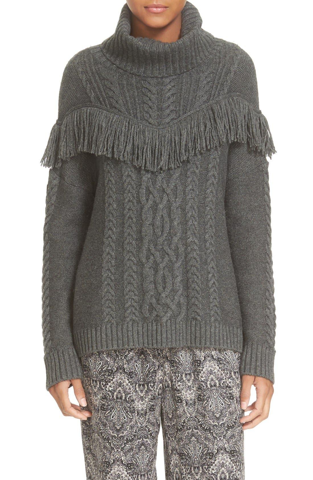 'Viviam' Fringe Cable Turtleneck Sweater, Main, color, 076