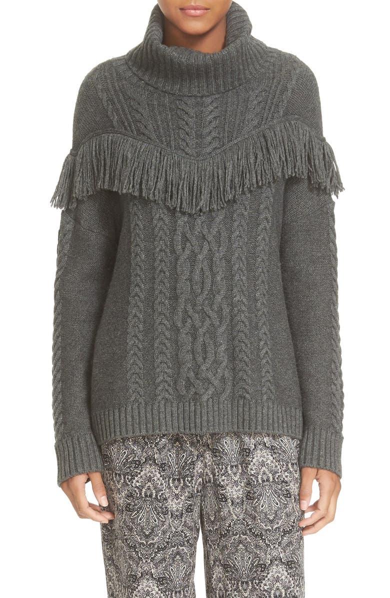 JOIE 'Viviam' Fringe Cable Turtleneck Sweater, Main, color, 076