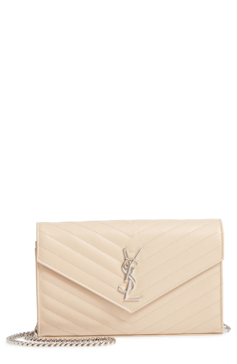SAINT LAURENT Monogram Quilted Leather Wallet on a Chain, Main, color, POUDRE