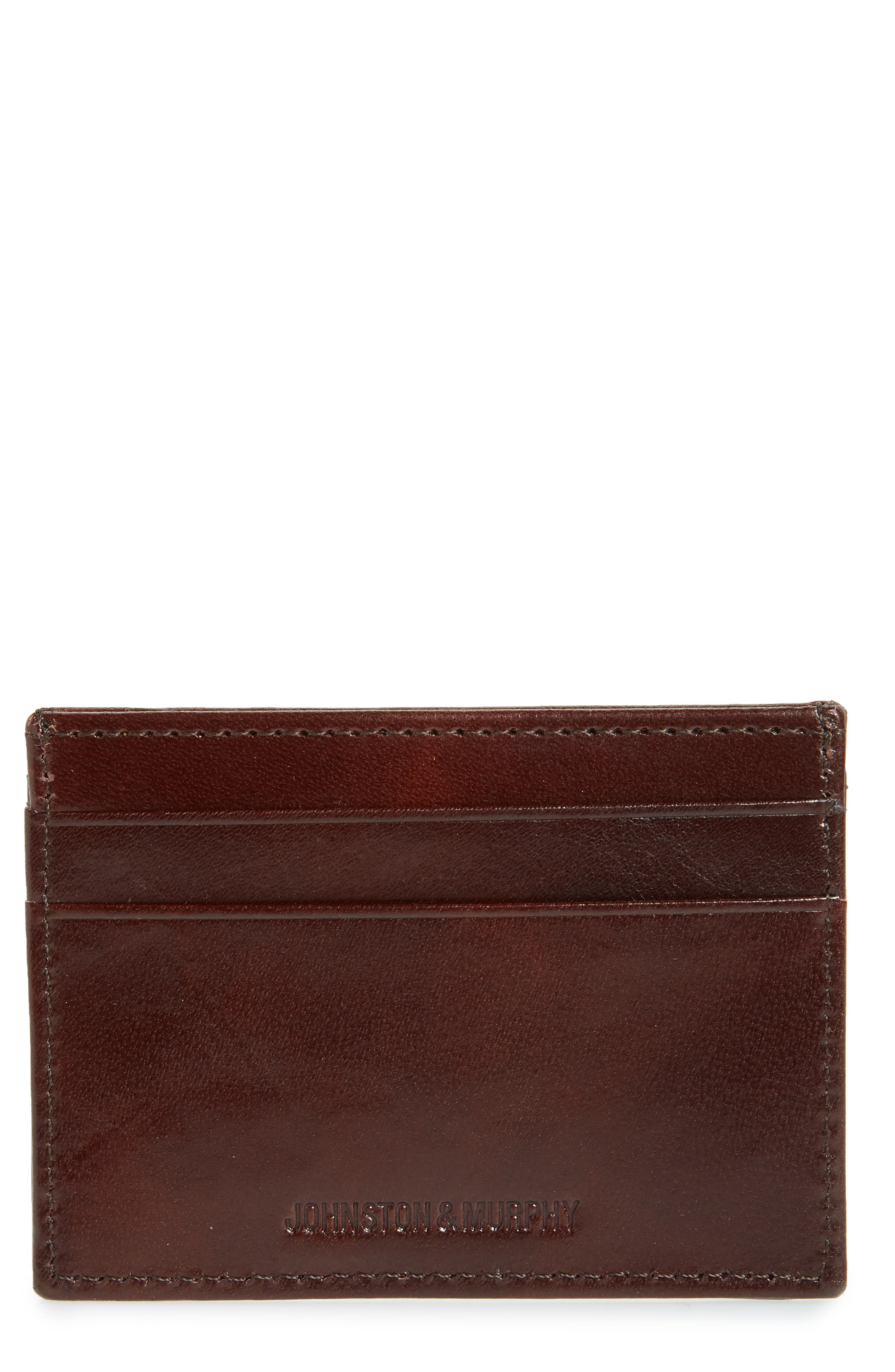 Richly textured full-grain leather elevates a slim card case lined with linen for versatile appeal and RFID shielding protects your personal info. Style Name: Johnston & Murphy Leather Card Case. Style Number: 5338409. Available in stores.