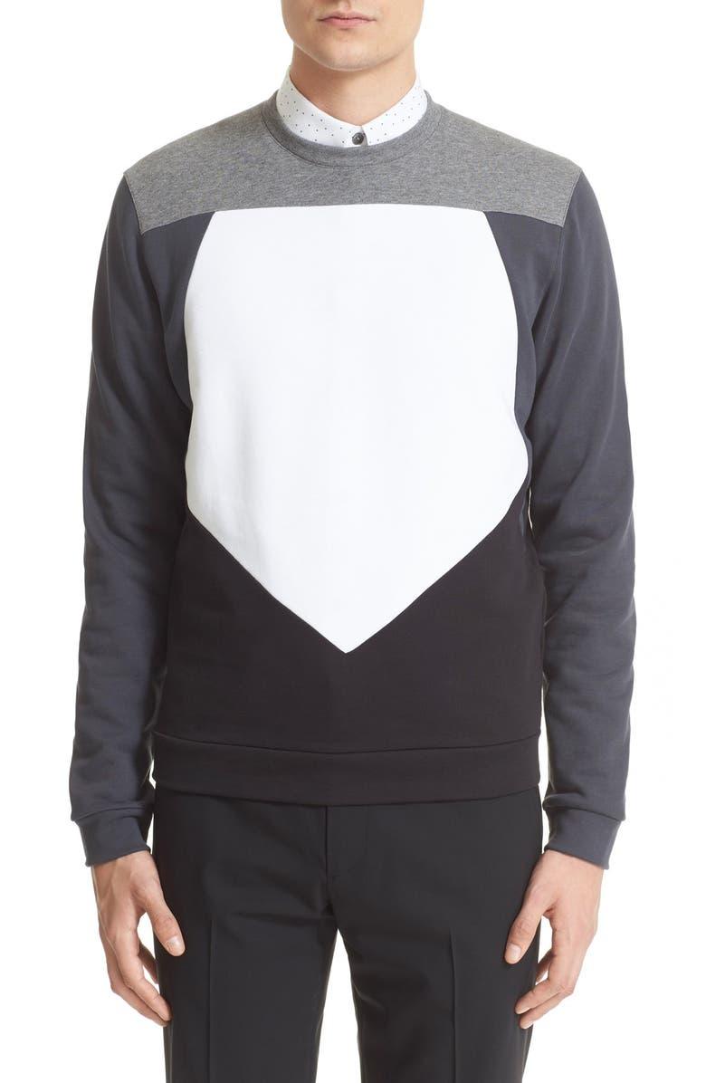 Z ZEGNA Pieced Pentagon Colorblock Sweatshirt, Main, color, 038