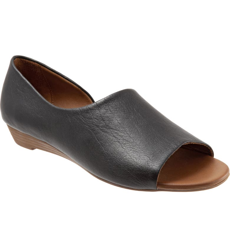 BUENO Anna Half d'Orsay Open Toe Flat, Main, color, BLACK LEATHER