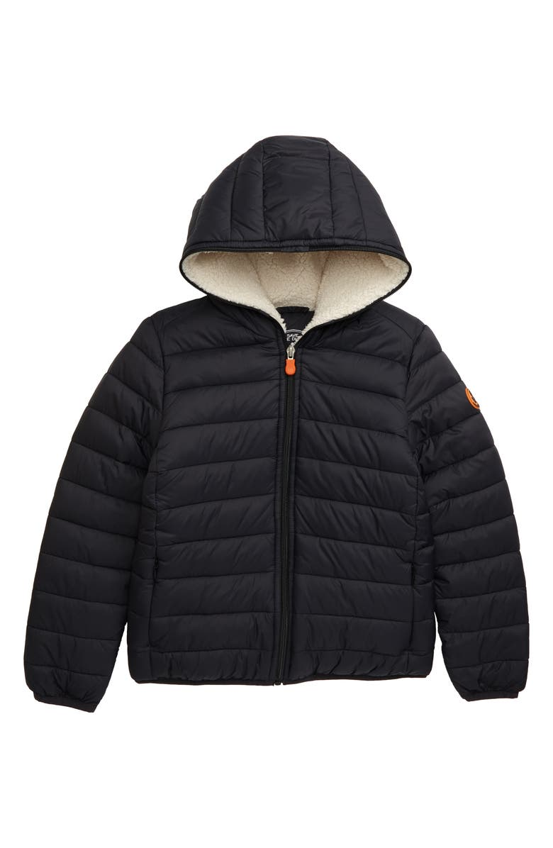 SAVE THE DUCK Giga Water Resistant Hooded Jacket, Main, color, BLACK/ 01