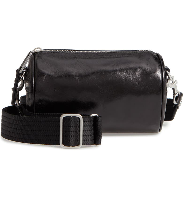 TREASURE & BOND Jamie Leather Barrel Crossbody Bag, Main, color, BLACK