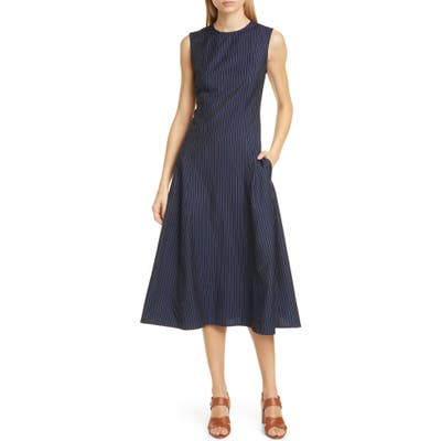 Polo Ralph Lauren Pinstripe Midi Dress, Blue