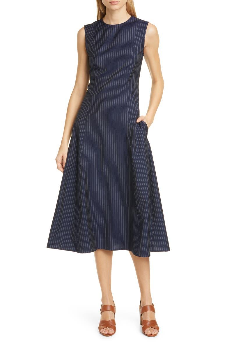 POLO RALPH LAUREN Pinstripe Midi Dress, Main, color, NAVY PINSTRIPE 2