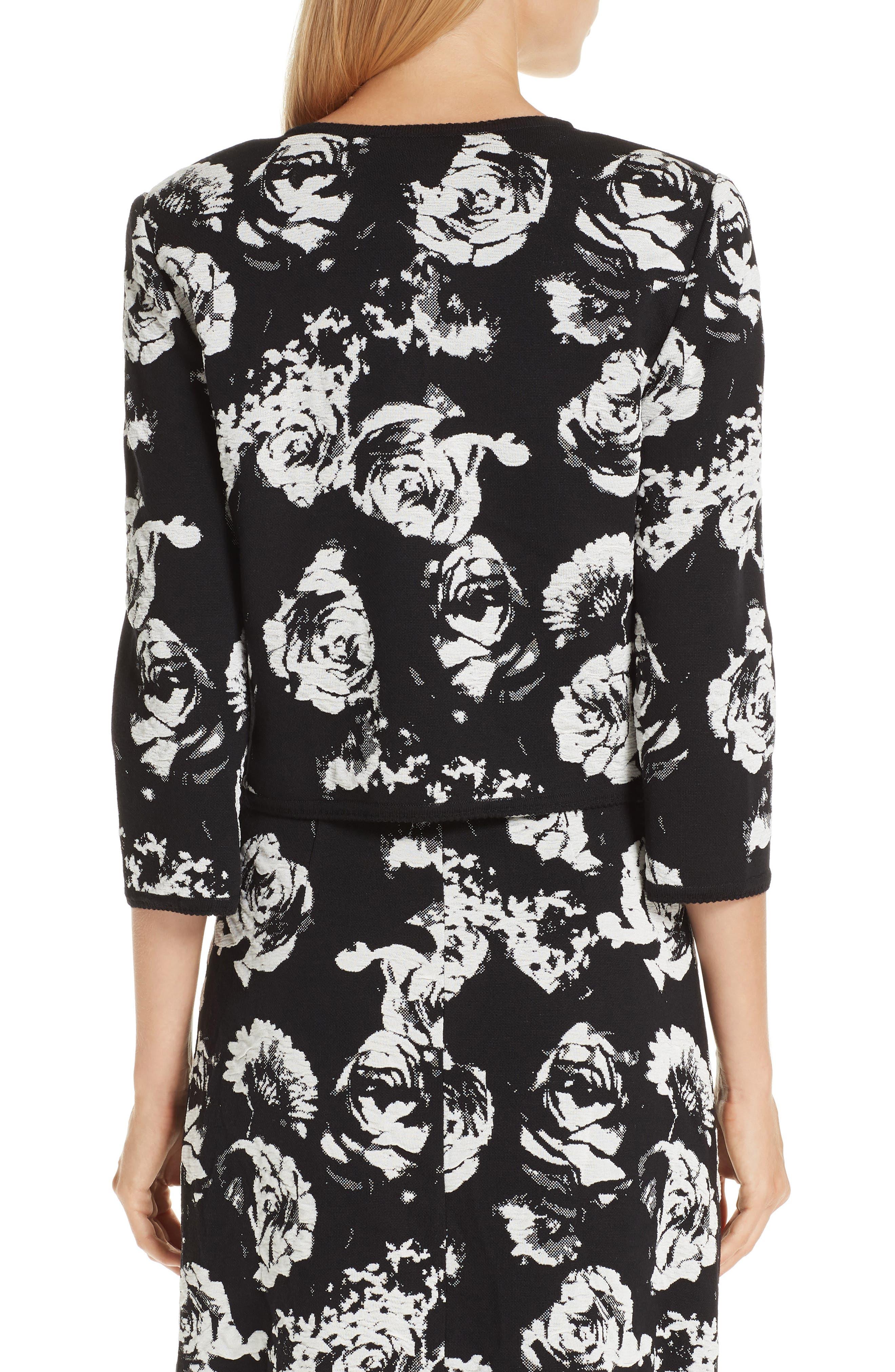 ,                             Floral Blister Knit Cardigan,                             Alternate thumbnail 2, color,                             CAVIAR/ CREAM