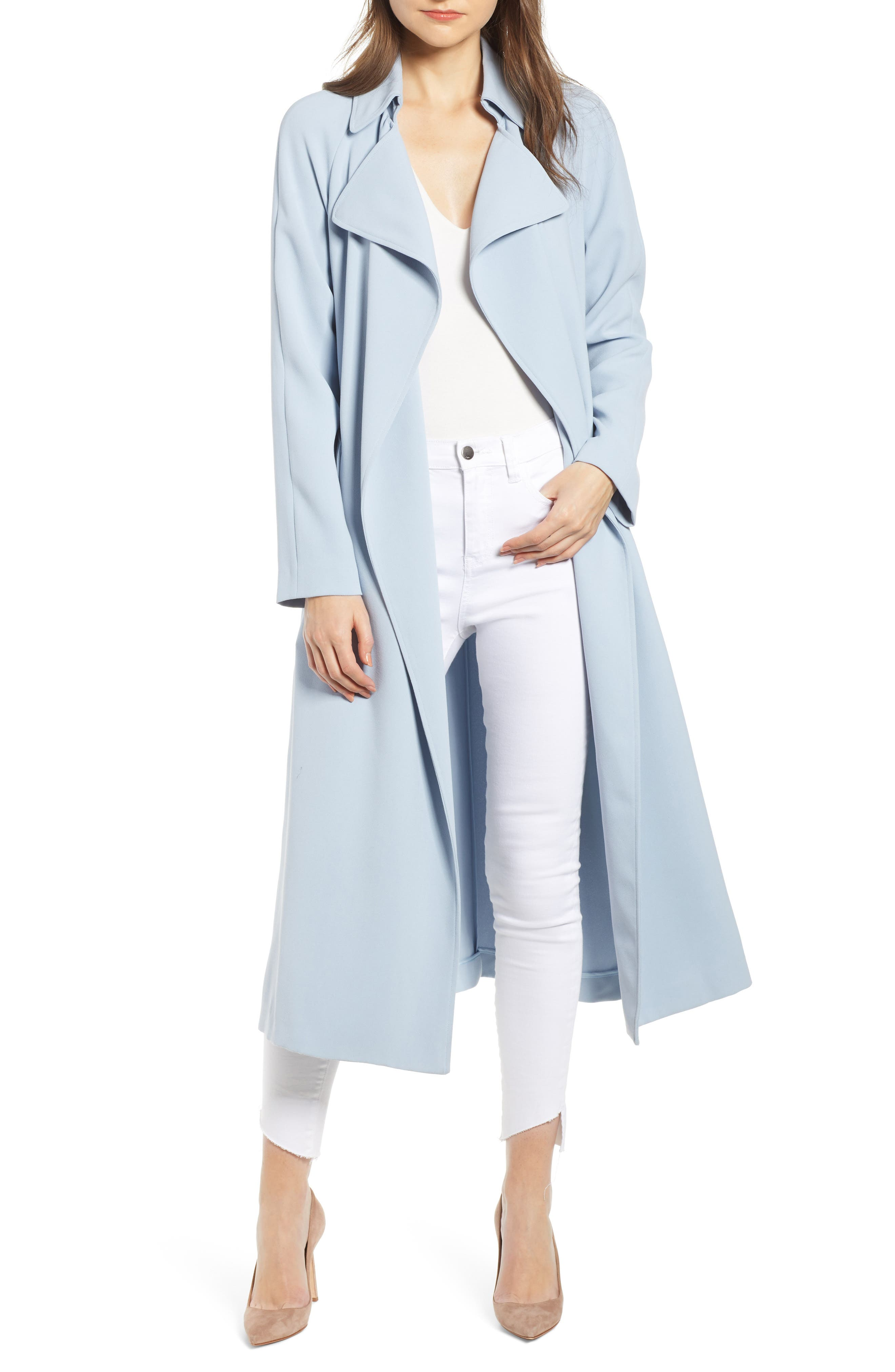 KENDALL KYLIE Womens Long Trench Coat