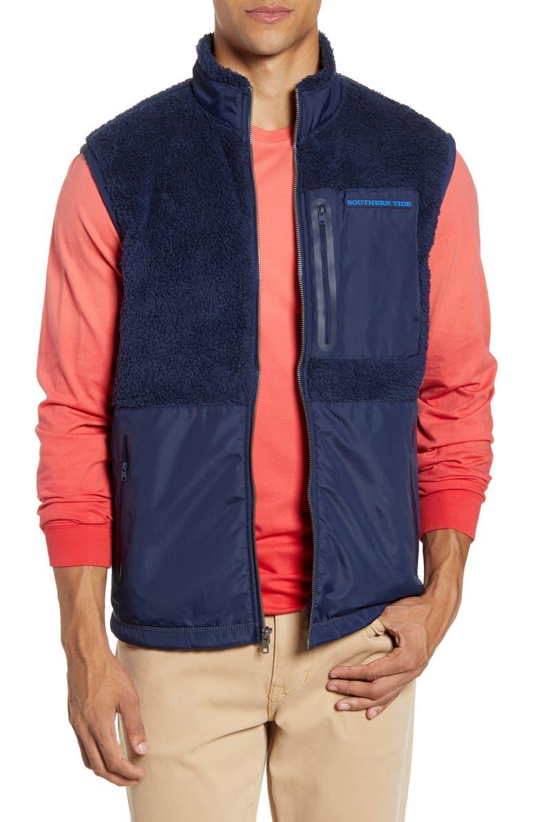 SOUTHERN TIDE Fleece Vest, Main, color, TRUE NAVY
