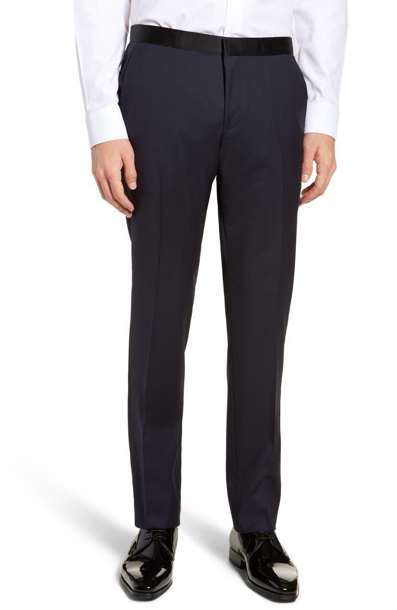 BOSS Gilan CYL Flat Front Slim Fit Wool Dress Pants, Main, color, DARK BLUE