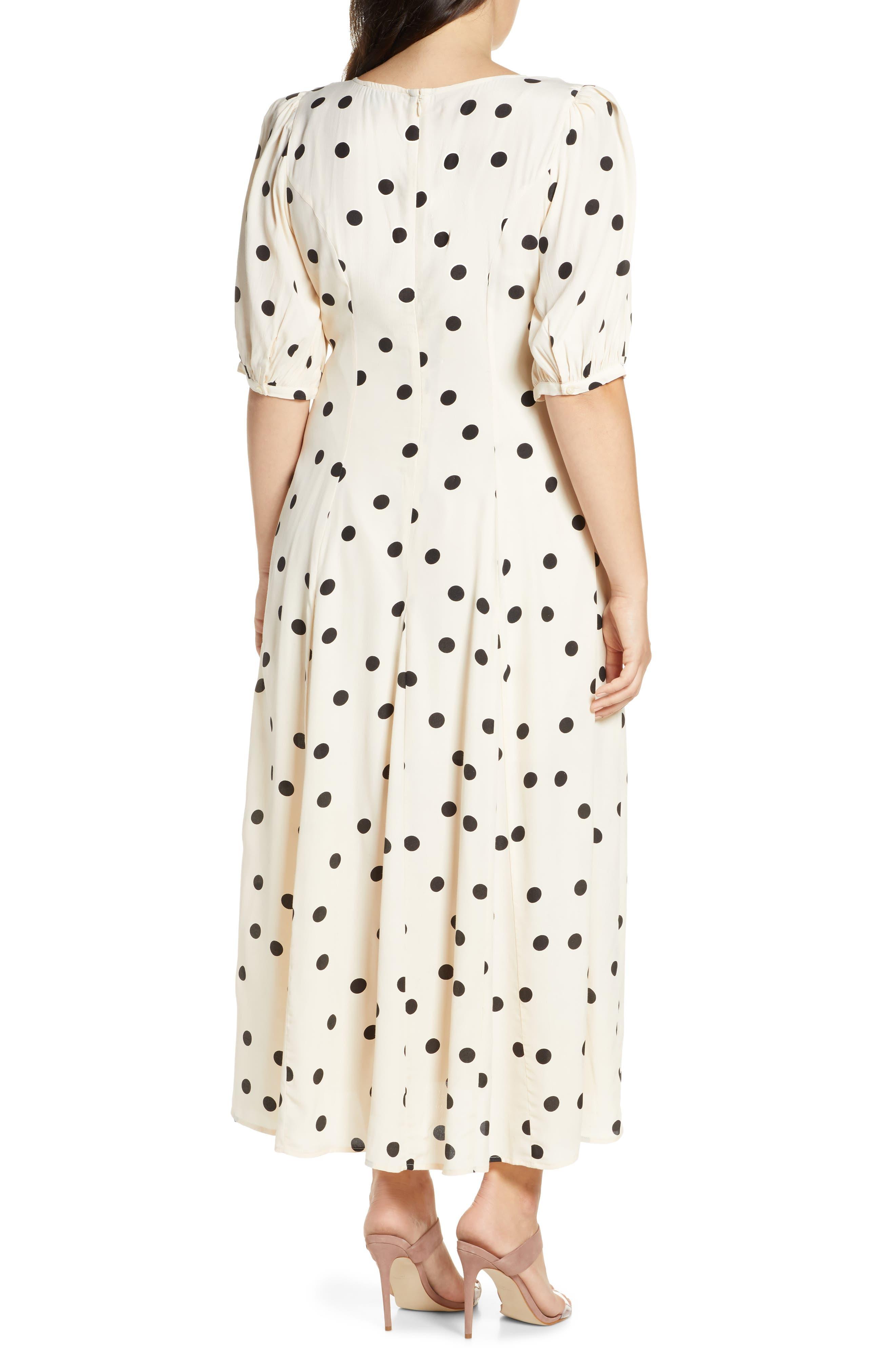 ,                             Print Dress,                             Alternate thumbnail 6, color,                             BEIGE ECRU DOT