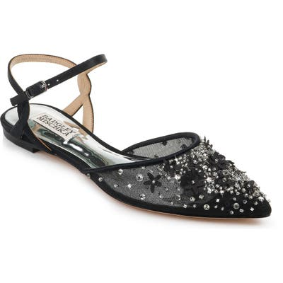 Badgley Mischka Carissa Embroidered Flat, Black