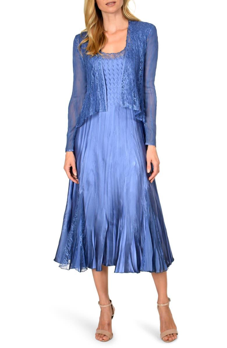 KOMAROV Charmeuse Dress with Chiffon Jacket, Main, color, 414
