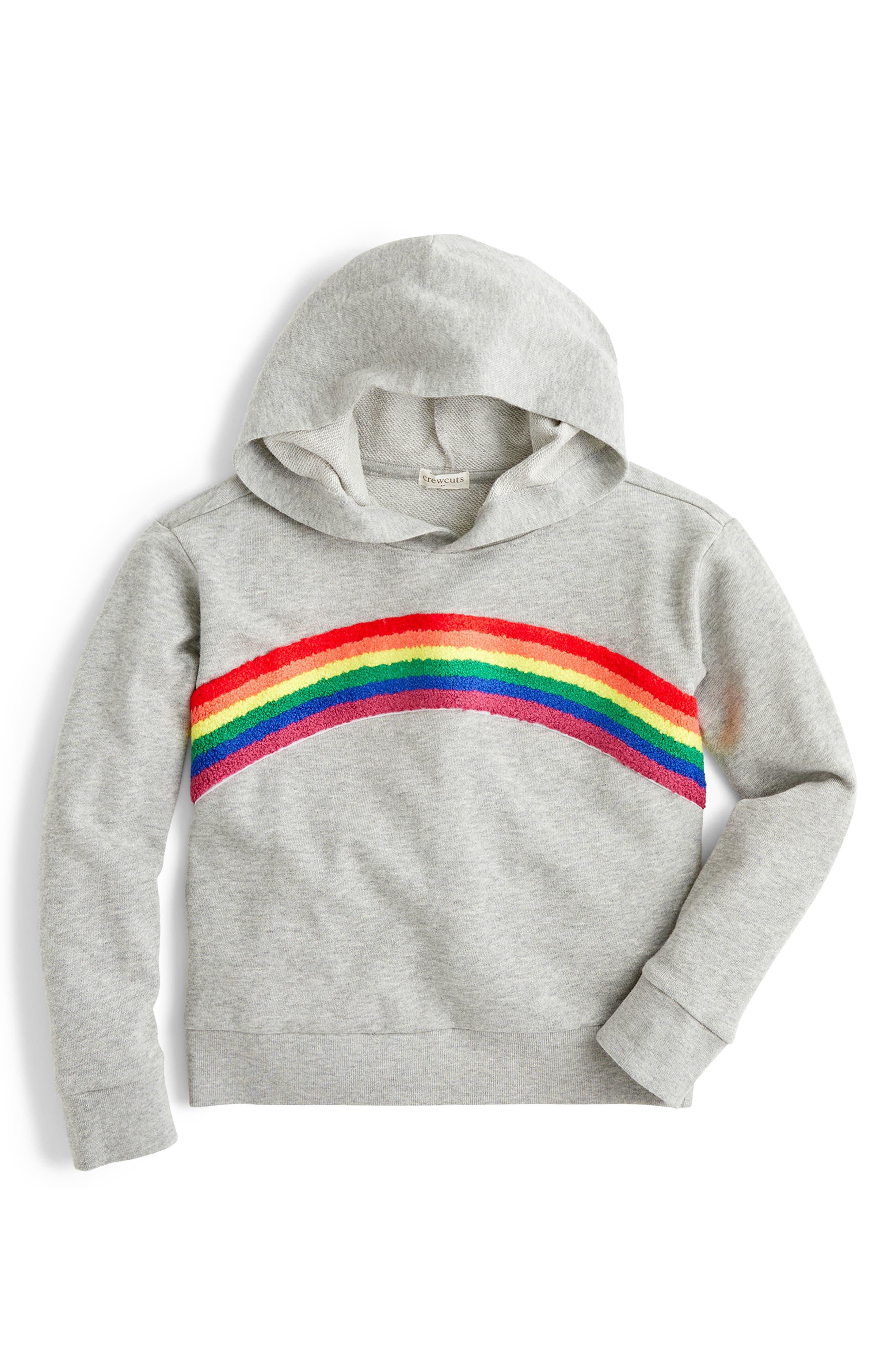 Toddler Girls Crewcuts By Jcrew Rainbow Hoodie Size 2T  Grey