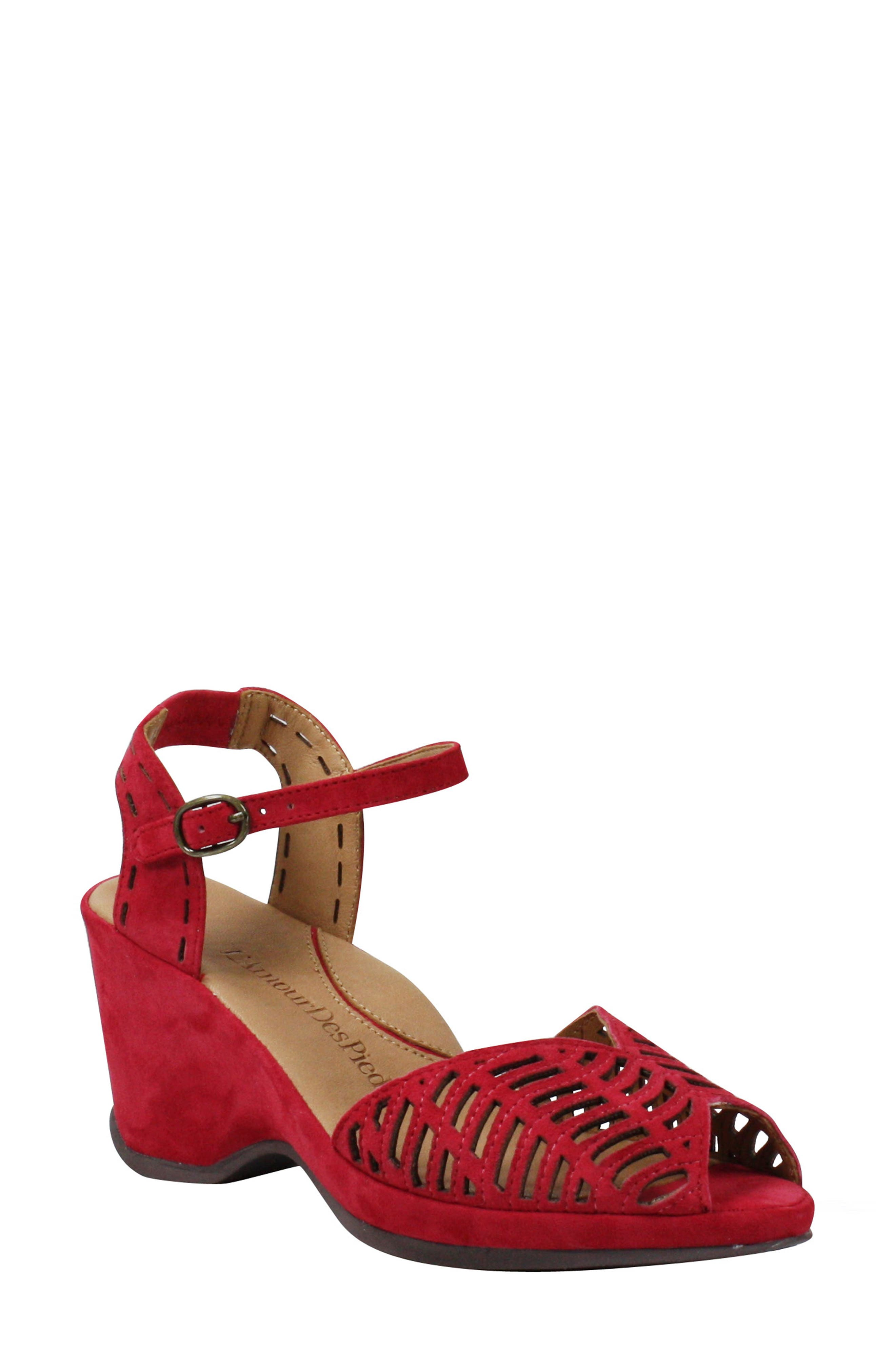 1940s Style Shoes, 40s Shoes Womens LAmour Des Pieds Oanez Wedge Sandal Size 10 M - Red $218.95 AT vintagedancer.com
