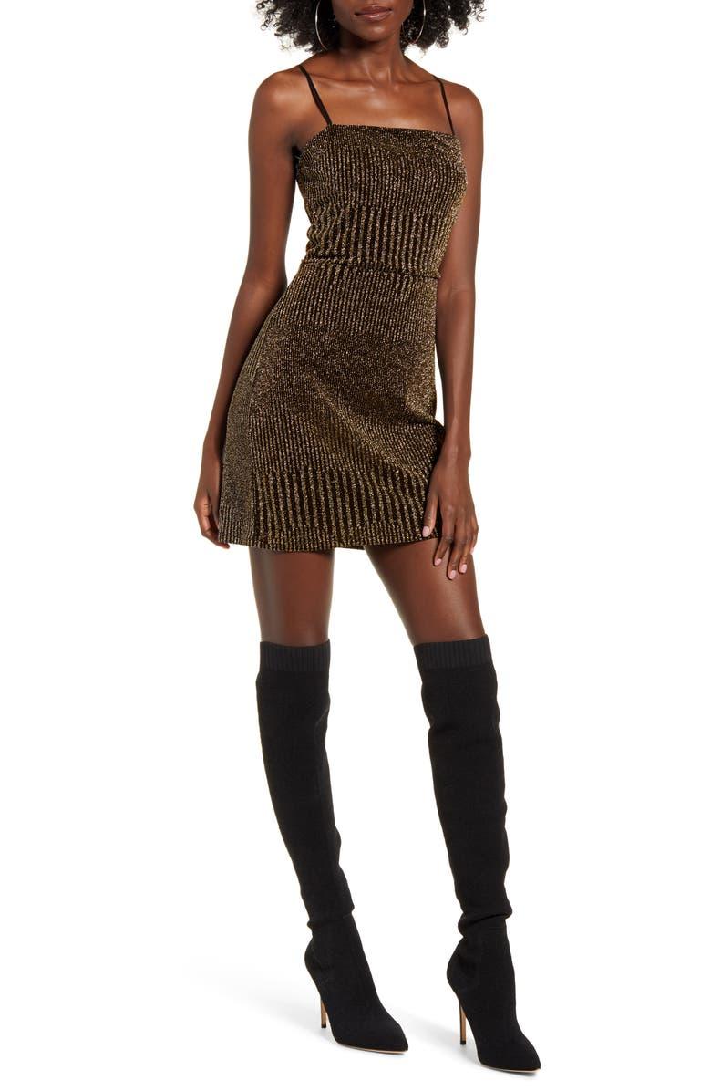 ROW A Sleeveless Metallic Rib Minidress, Main, color, BLACK GOLD