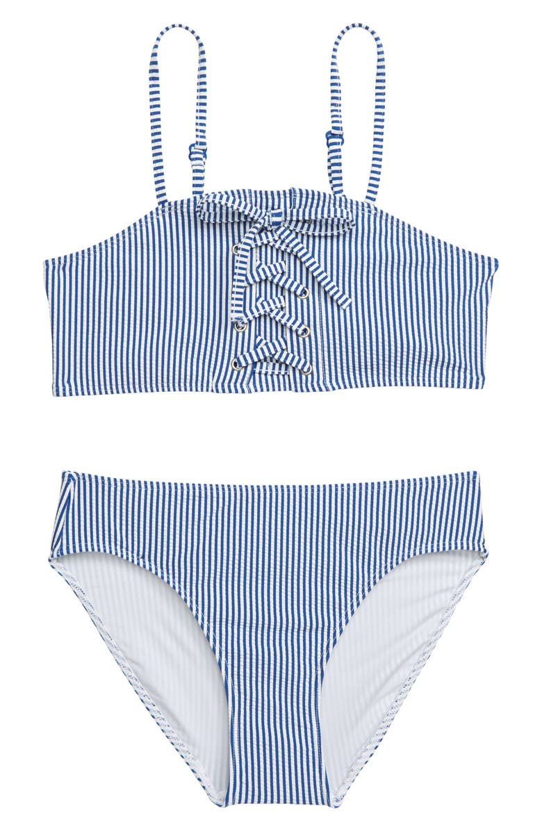 TUCKER + TATE Stripe Two-Piece Swimsuit, Main, color, BLUE PRINCESS- WHITE STRIPE
