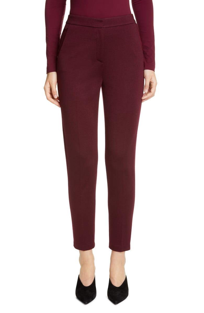 ST. JOHN COLLECTION Slim Milano Knit Ankle Pants, Main, color, BURGUNDY