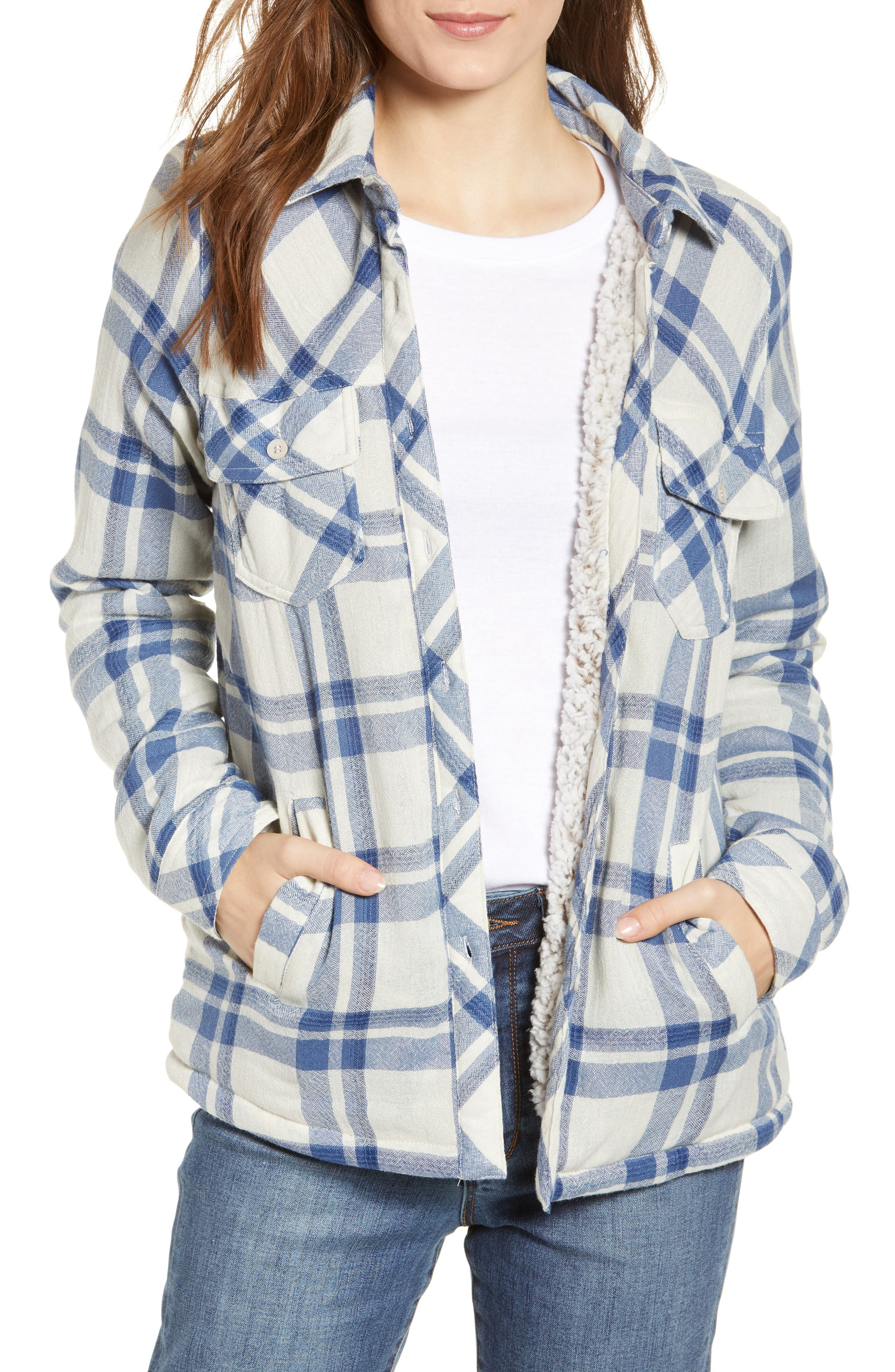 Image of THREAD AND SUPPLY Newark Faux Shearling Lined Plaid Shirt Jacket