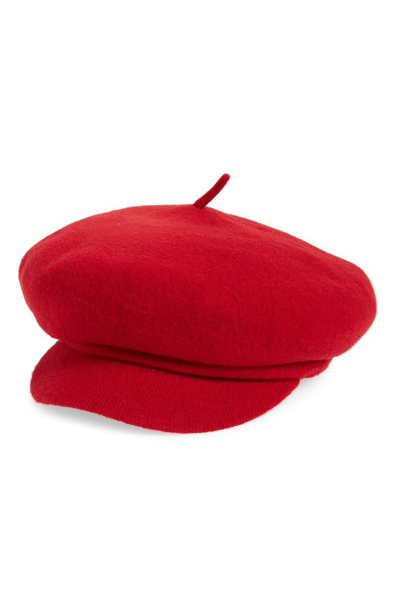 BRIXTON Audrey Brim Wool Beret, Main, color, RED