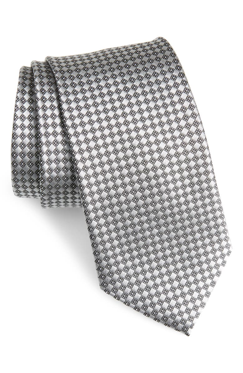 NORDSTROM MEN'S SHOP Geometric Silk Tie, Main, color, SILVER