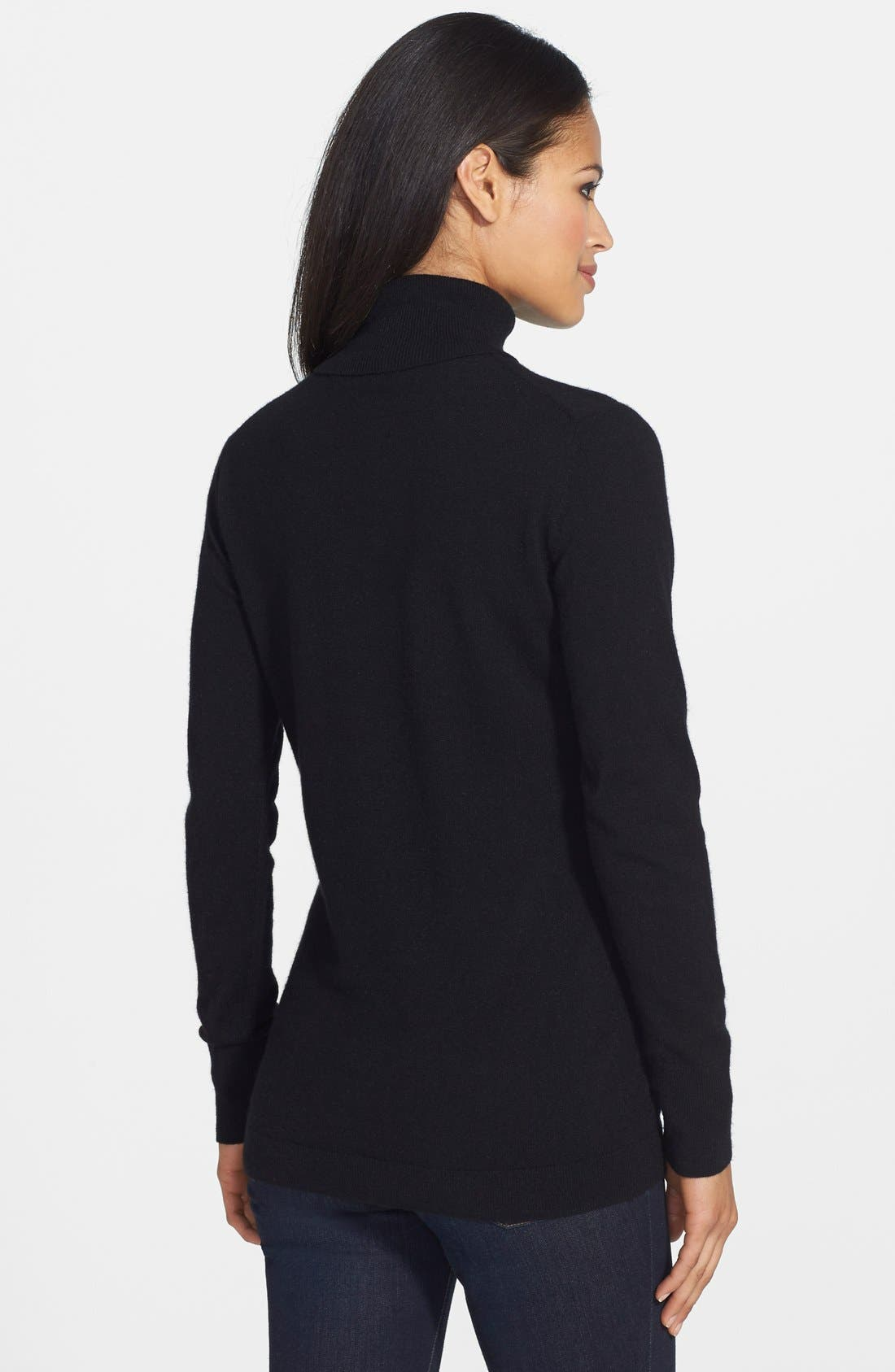 ,                             Long Cashmere Turtleneck Sweater,                             Alternate thumbnail 2, color,                             001