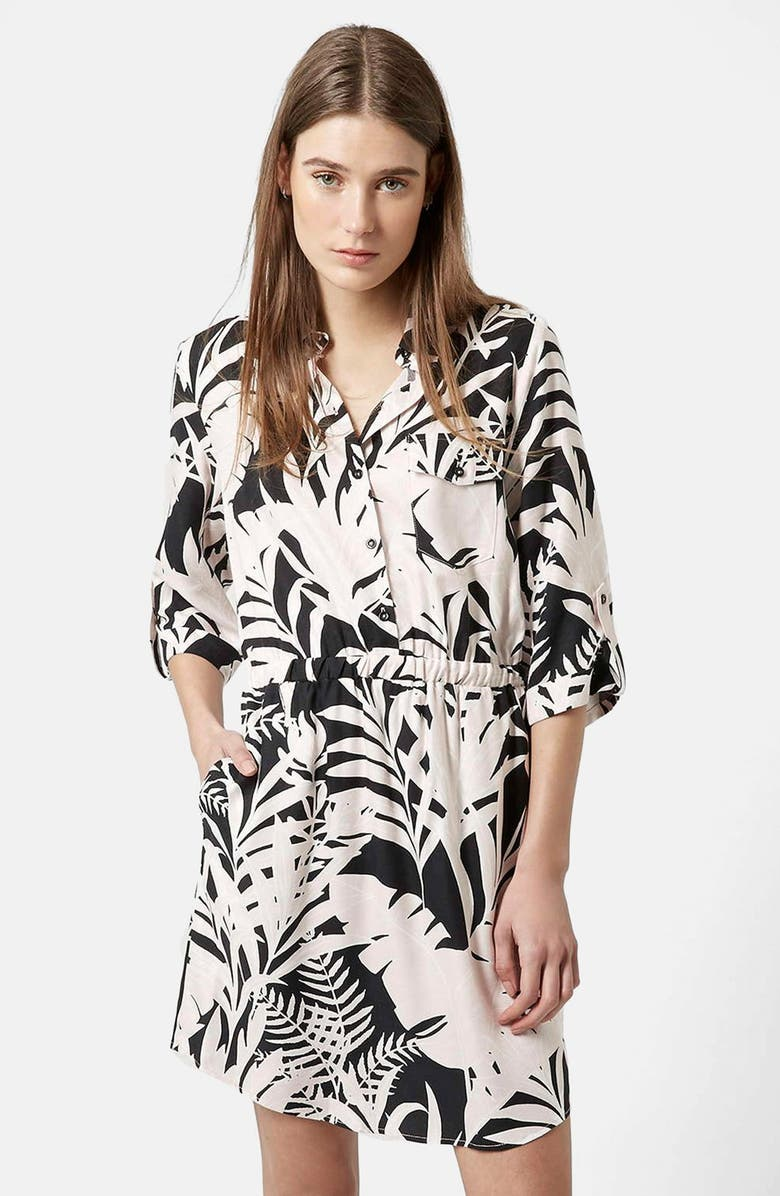 TOPSHOP Leaf Print Shirtdress, Main, color, 001