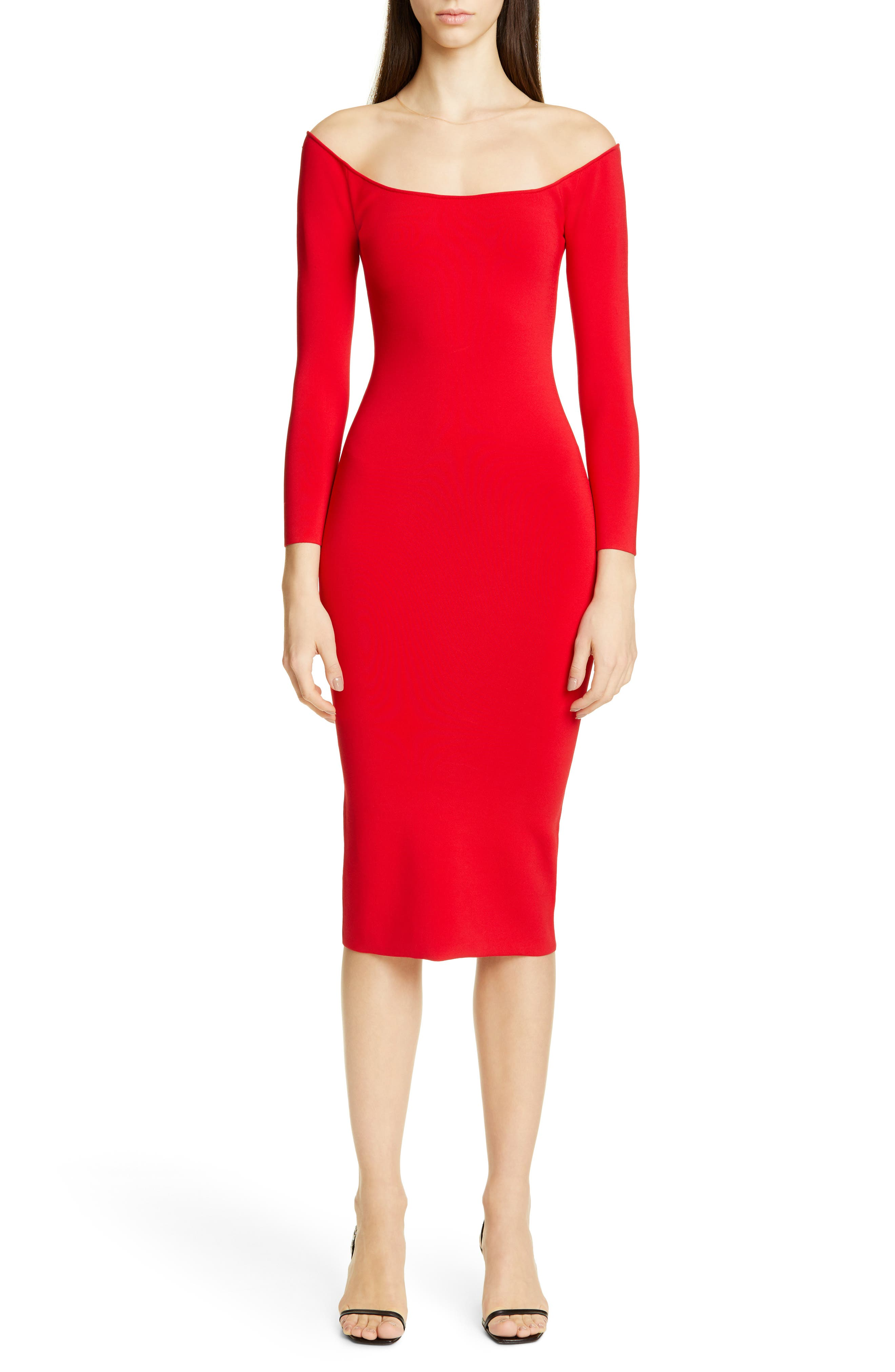 Alexander Wang Long Sleeve Illusion Neck Body-Con Sweater Dress, Red