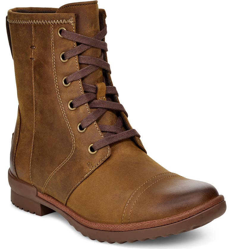 UGG<SUP>®</SUP> Ashbury Waterproof Lace-Up Bootie, Main, color, CHESTNUT LEATHER