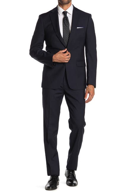 Image of Calvin Klein Dark Blue Tonal Pinstripe Wool Two Button Notch Lapel Suit