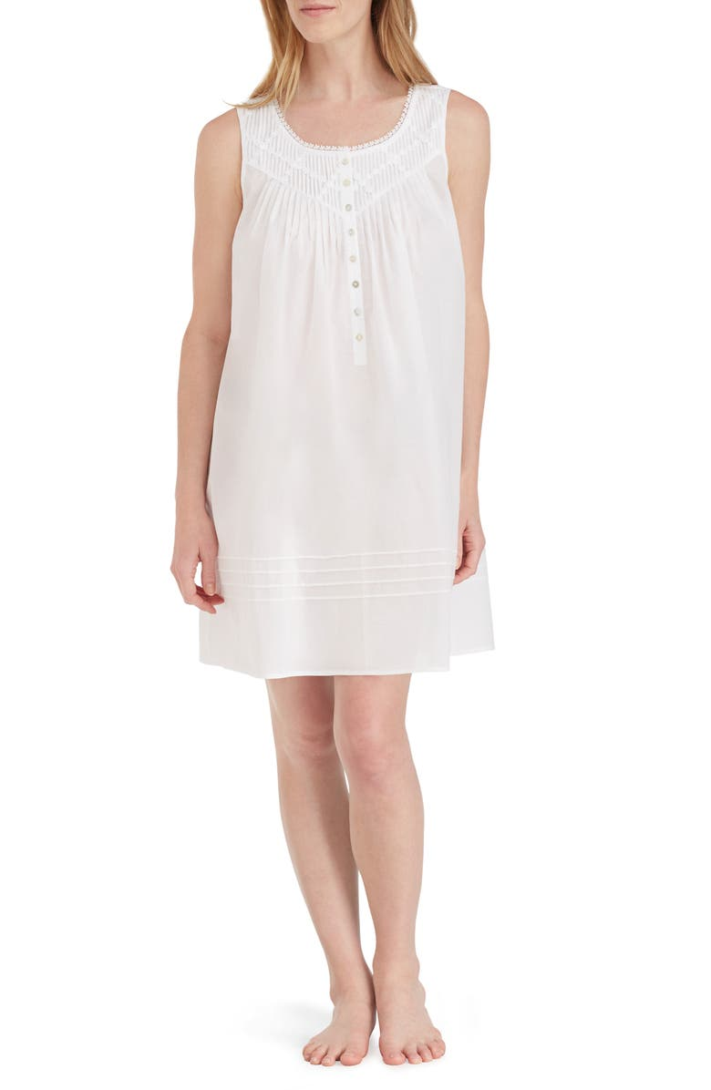 EILEEN WEST Cotton Nightgown, Main, color, SOLID WHITE