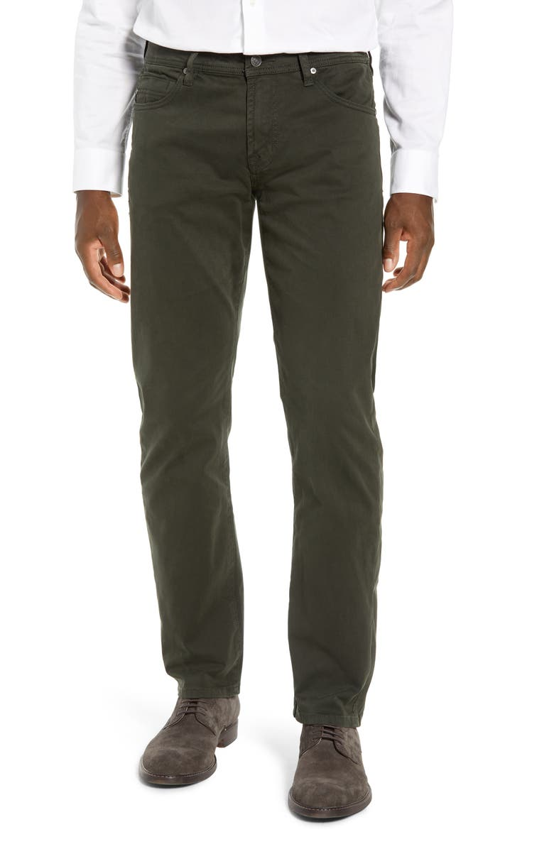LIVERPOOL Regent Relaxed Straight Leg Twill Pants, Main, color, OLIVE MULCH