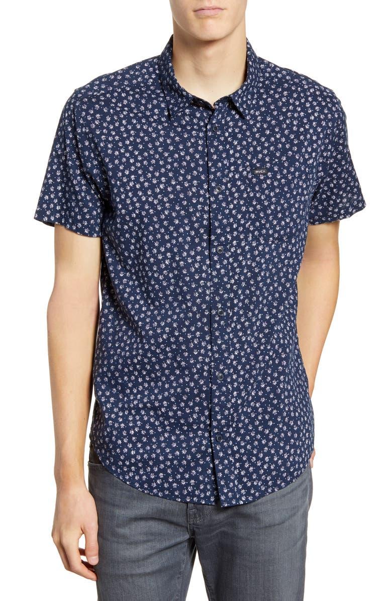 RVCA Ficus Floral Print Slim Fit Shirt, Main, color, FEDERAL BLUE