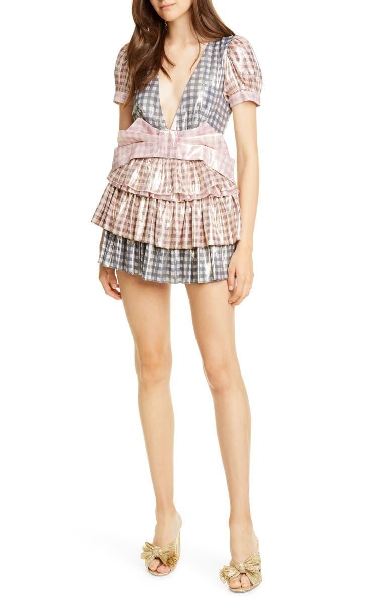 LOVESHACKFANCY Lucinda Metallic Gingham Silk Blend Minidress, Main, color, MULTI