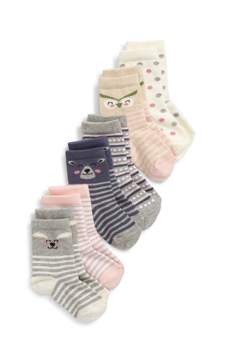 TUCKER + TATE Critters 6-Pack Crew Socks, Main, color, BEIGE OATMEAL MULTI
