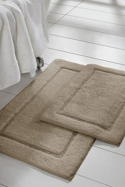 Image of Modern Threads Taupe Solid Loop Non-Slip Bath Mat 2-Piece Set