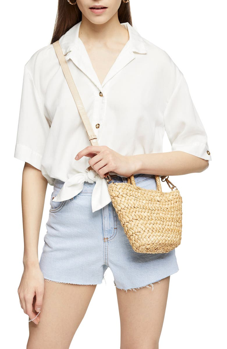TOPSHOP Demi Casual Knot Front Button-Up Shirt, Main, color, 100