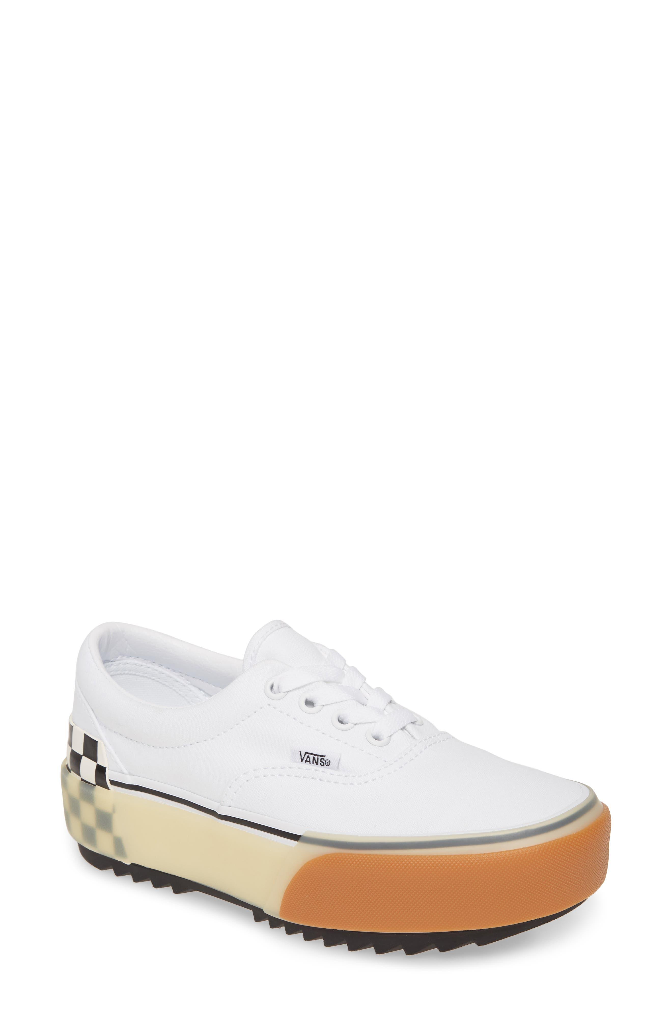 Vans Era Stacked Check Platform Sneaker, White