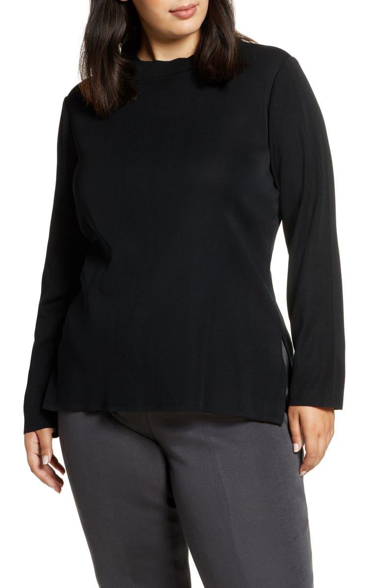 MING WANG Tunic Sweater, Main, color, 001